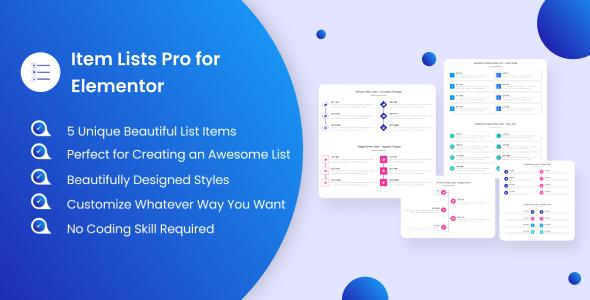 Wordpress Add-On Plugin Item Lists Pro  for Elementor