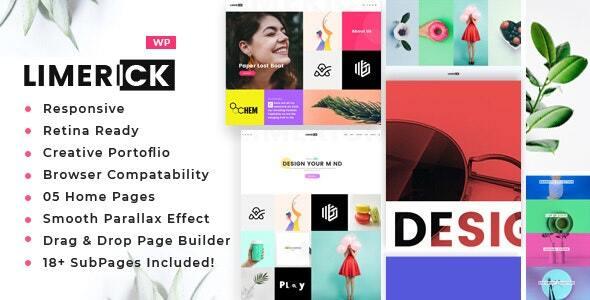 Wordpress Kreativ Template Limerick - A Colorful and Modern Multipurpose Portfolio Theme