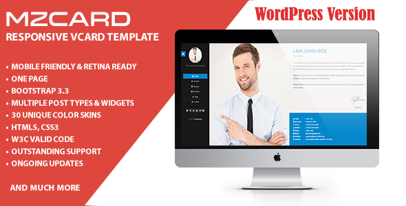 Wordpress Blog Template MilZinCard Resume / CV & Portfolio vCard WordPress Theme