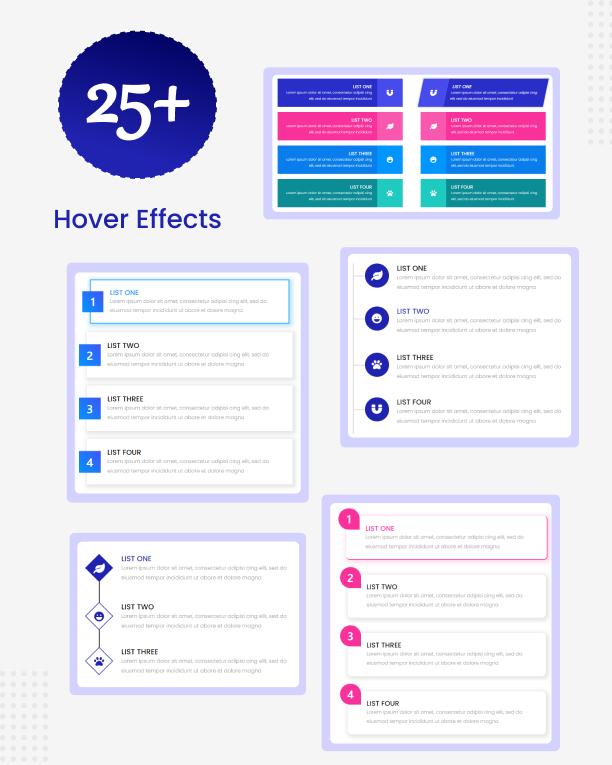 Hover-Effekte für Item Lists Pro für Elementor