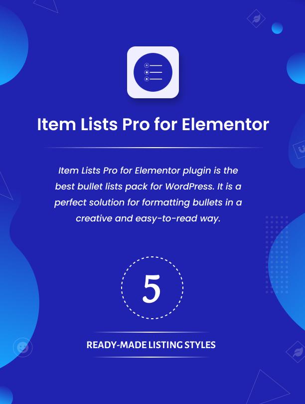 Item Lists Pro für Elementor Plugin