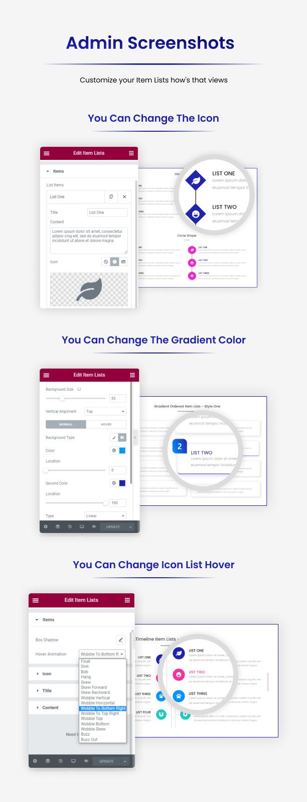 Item Lists Pro für Elementor Admin Screenshots