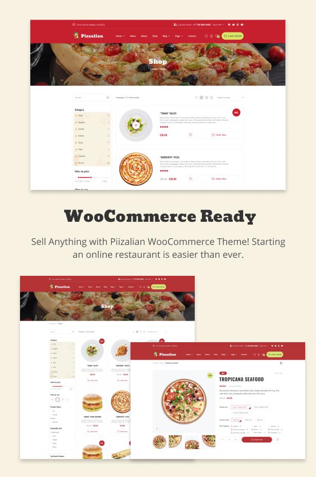 Piizalian - Fast-Food-Restaurant WooCommerce-Thema