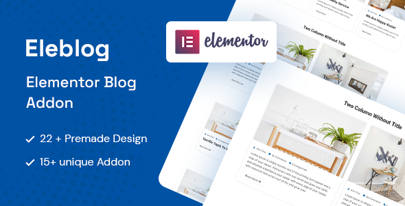 Wordpress Add-On Plugin Eleblog - Elementor Magazine and Blog Addons