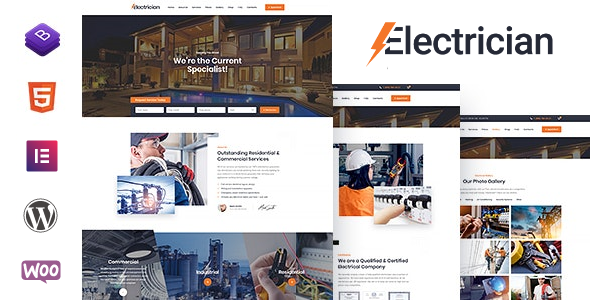 Wordpress Immobilien Template Electrician - Electricity Services WordPress Theme