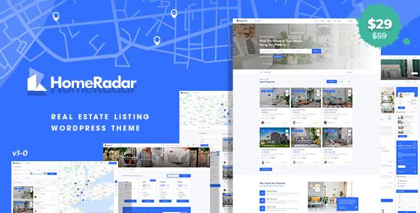 Wordpress Immobilien Template HomeRadar - Real Estate WordPress Theme