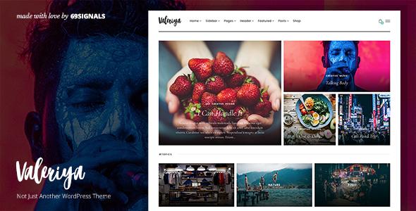Wordpress Blog Template Valeriya - Classy Theme for WordPress