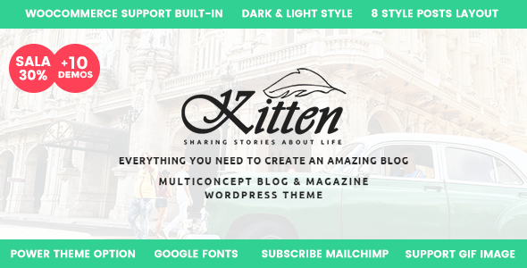 Wordpress Blog Template Kitten - Multi-Concept Elegant WordPress Blog Theme