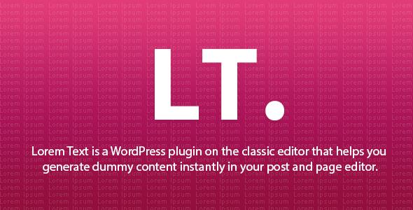 Wordpress Add-On Plugin Lorem Text - WordPress Plugin - Classic Editor Addon
