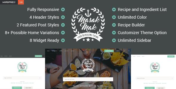 Wordpress Blog Template MasakMak - Recipe and Food WordPress Theme