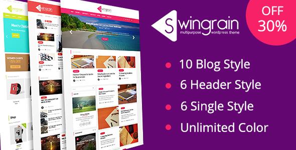 Wordpress Blog Template Swingrain - Multipurpose WordPress Theme