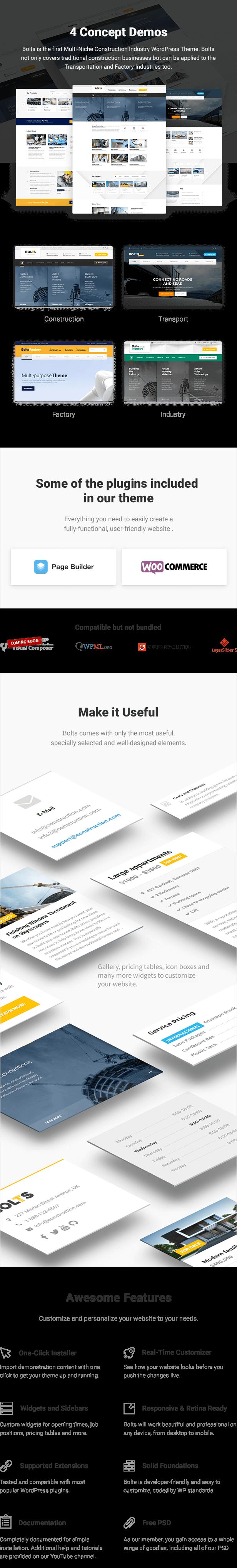 Bolts - WordPress Theme für Bau, Transport und ähnliches Geschäft - 1