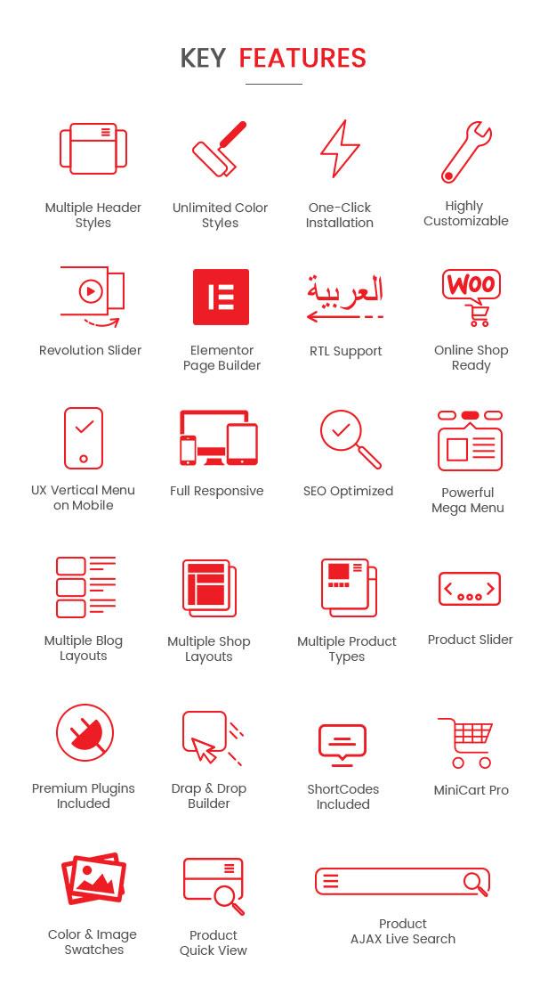 Mallon - Medical Store Elementor WooCommerce WordPress Theme-Funktionen