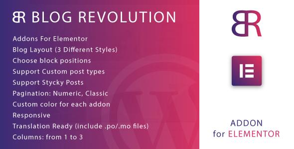 Wordpress Add-On Plugin Blog Revolution for Elementor WordPress Plugin