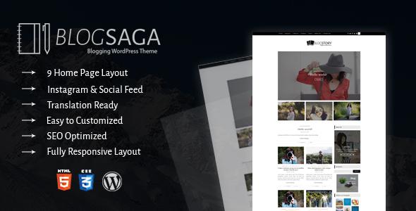 Wordpress Blog Template BlogSaga - WordPress Blog Theme