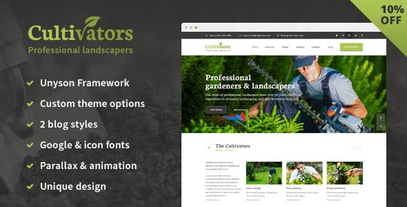 Wordpress Immobilien Template Cultivators - WordPress Gardening Design