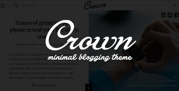 Wordpress Blog Template Crown - Minimal Blogging Theme