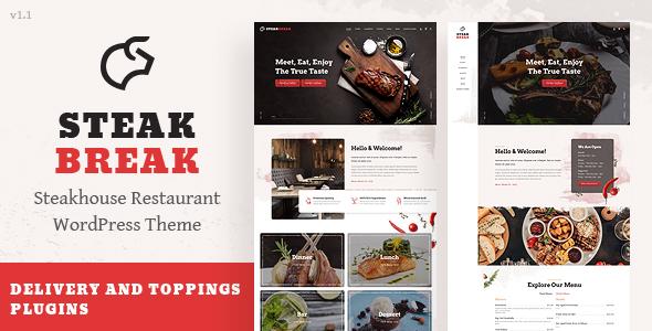 Wordpress Entertainment Template SteakBreak - Meat Restaurant WordPress Theme