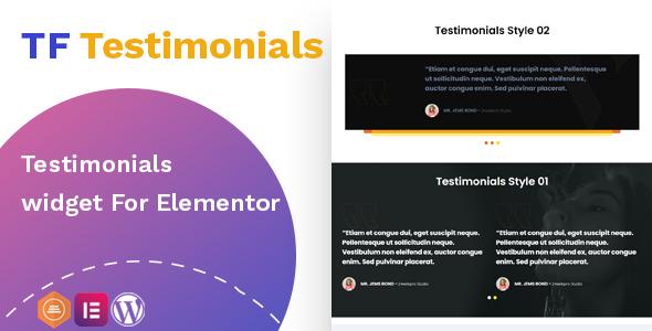 Wordpress Add-On Plugin Testimonials widget For Elementor
