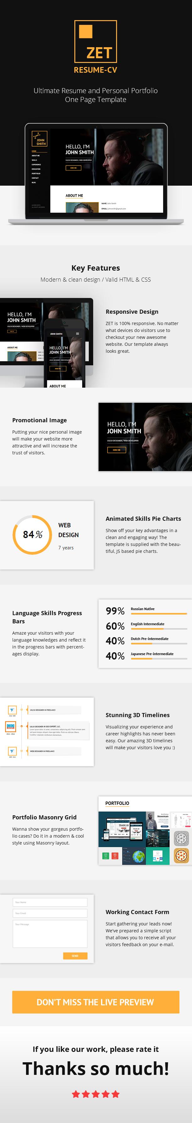 ZET - One Page Resume/Persönliches Portfolio WordPress Theme - 1