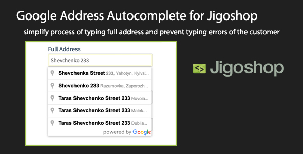 Wordpress E-Commerce Plugin Google Address Autocomplete for Jigoshop