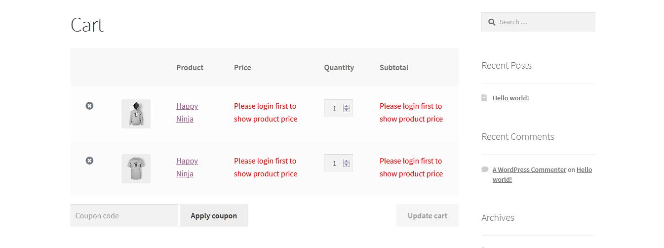 WooCommerce-Warenkorbseite