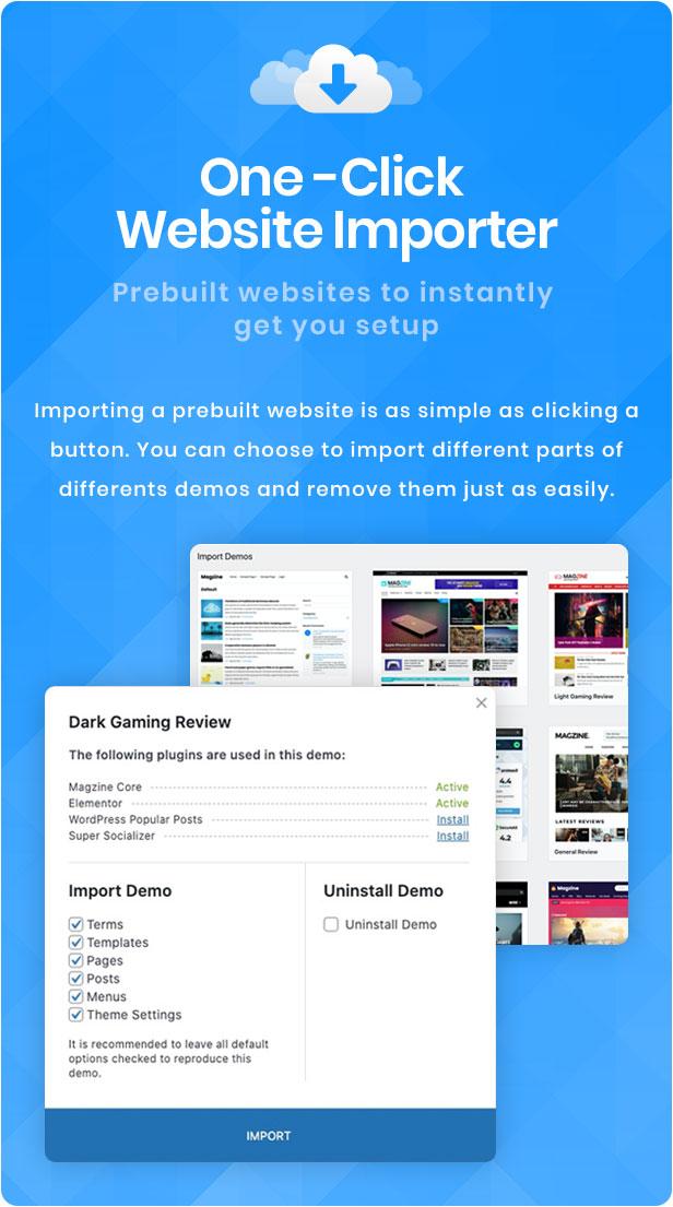 Demo-Importer mit einem Klick
